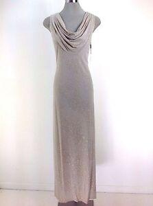 Calvin Klein Nwt Stunning Gold Glitter Shawl Collar Evening Dress