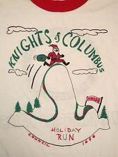 Vintage Nights of Columbus Fun Run Marathon 80's ringer santa claus T Shirt S