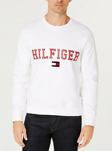 6d9a293b51c Image is loading Tommy-Hilfiger-Men-039-s-White-Collegiate-Logo-