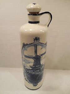 Pottery & Glass Delft Blue Decanter Jug With Cork Stopper Windmill Blue White Made In Holland