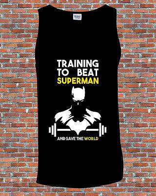 Training to beat Superman v Batman Comic Workout Gym Printed Tank Vest S-2XL