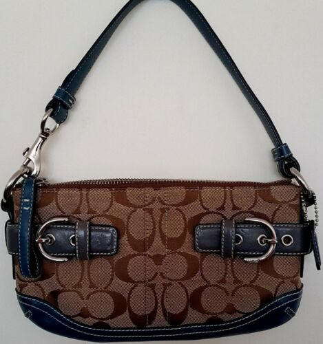 Coach Small 5107 a C06k Blue mano Tan Borsa Denim Signature Leather Canvas Iw44rxSY