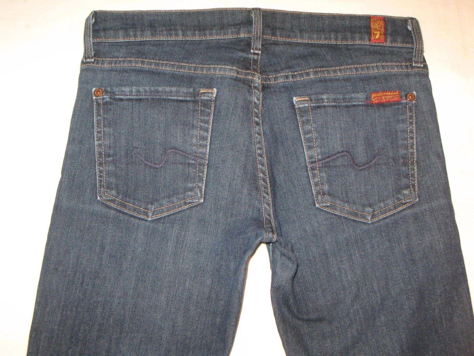 7 For All Mankind Womens Straight Leg Jeans Sz 26 Dark Distressed (Run Big)