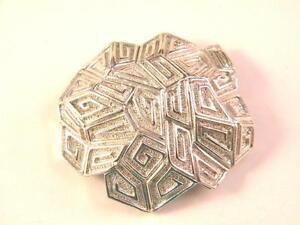 Vintage-Coro-Silver-tone-Modern-Large-Brooch-Pin