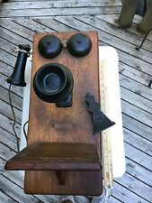 Antique Oak Ringer Wall Telephone Wooden Box Phone With Real Phone Inside!