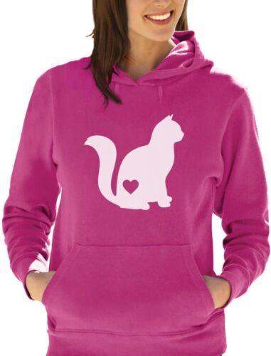 Regalo per gli amanti GATTO-CAT Silhouette Love Felpa Con Cappuccio Donna amante degli animali