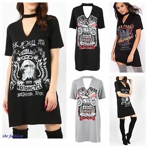 Womens Ladies Rock N Roll Print Choker V Neck T Shirt Mini