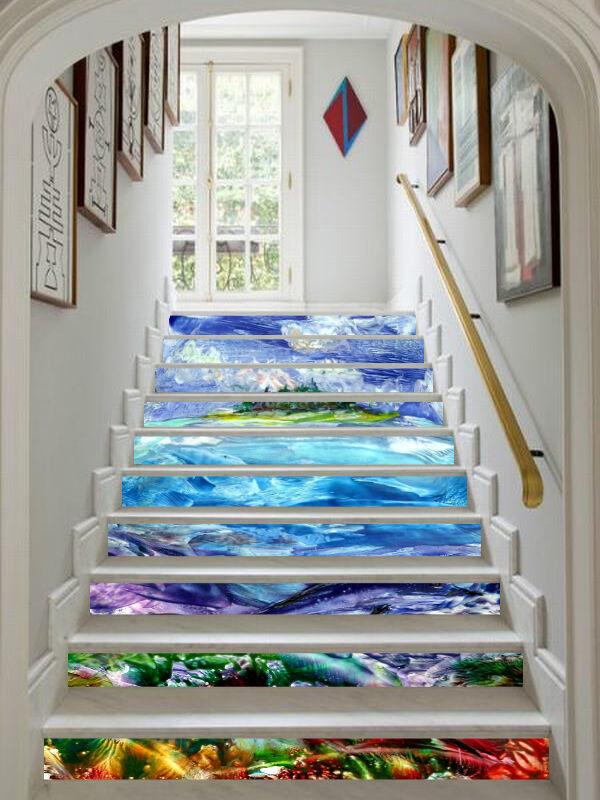 3D Meer, Koralle 36 Stair Risers Dekoration Fototapete Vinyl Aufkleber Tapete DE