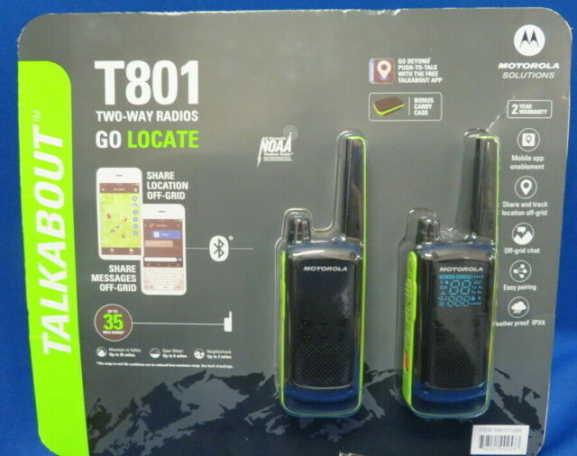 Motorola Talkabout T801 Two-Way Radios Black/Green 2Pack