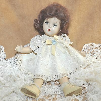 VTG 13 Inch Full Composition Doll Brunette Open Mouth Teeth Open Close Blue Eyes