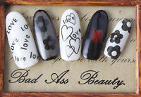 BLACK Flower Hearts Love Water Transfers Nail Art Stickers Decals UV Decoration