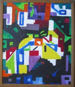 Oil-Painting-Abstract-Colourful-composition-City-Artcolor-1960-70-Modern-Art