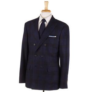 NWT-4745-BRUNELLO-CUCINELLI-Brown-Blue-Plaid-Wool-Silk-Cashmere-Suit-44-R-DB