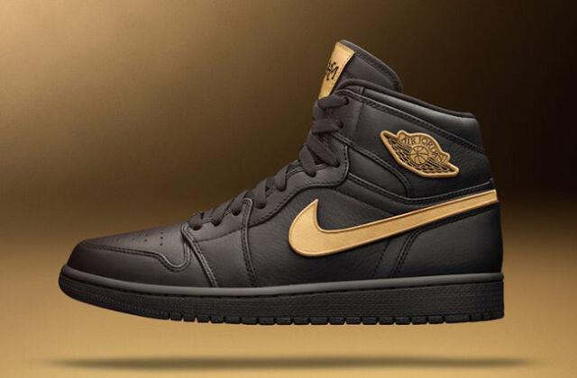 6e031e062328 Nike Air Jordan 1 Retro High BHM Black Gold 908656-001 Size 10.5 for ...