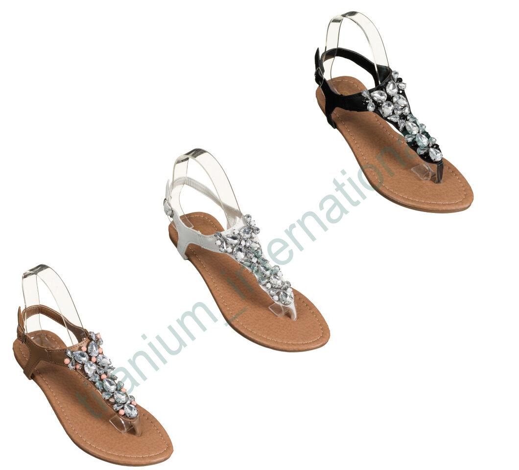 Scarpe Basse Da Donna Diamante 4-8 Gioiello Vacanza Dressy PARTY SANDALI TAGLIA 4-8 Diamante fde4f1
