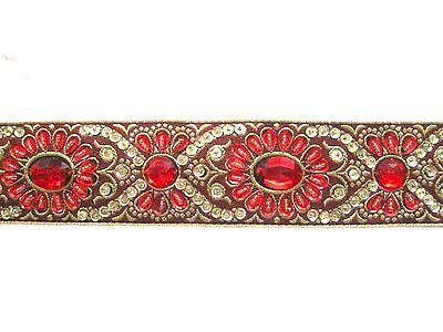 Handbestickte Borte Rot Gold BO-EB-1127