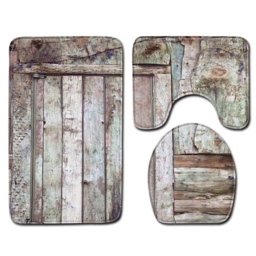 Rustic Wood Anti-Slip Bathroom Carpet Set Toilet Lid Cover Rug Mat Decorative