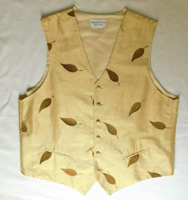 Pronuptia Monsieur gold silk waistcoats French tuxedo vest XL 44 or XXL 46 NEW