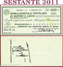 BANCA AGRICOLA POPOLARE MATINO E LECCE Lire 200 11.5. 1977 PROD. AGRICOLI B136