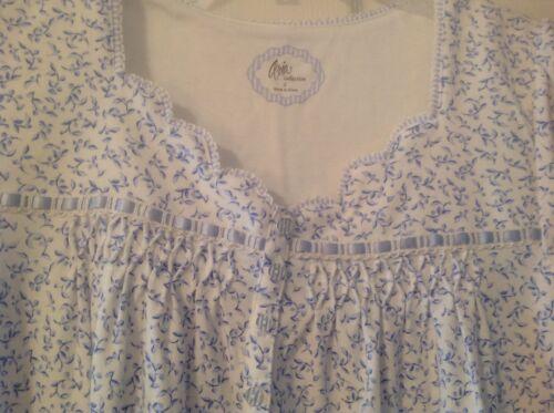 bianco piccola Aria foglie Camicia Collezione con blu da Bnwt taglia Donna notte gdznOY0n