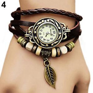Women-New-Design-Retro-Leather-Bracelet-leaf-Decoration-Quartz-Wrist-Watch-BD3U