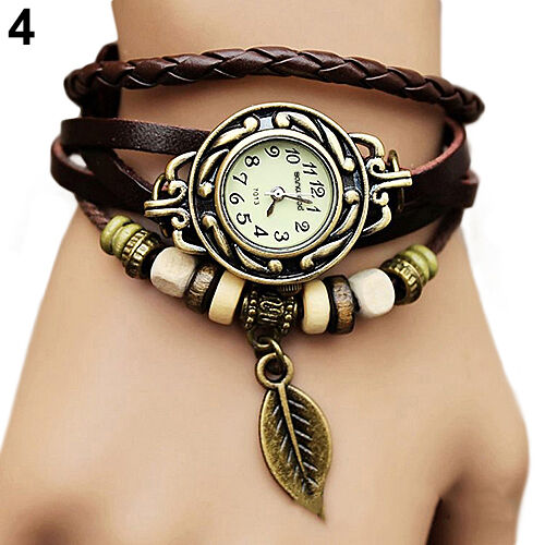 Women New Design Retro Leather Bracelet leaf Decoration Quartz Wrist Watch Gift