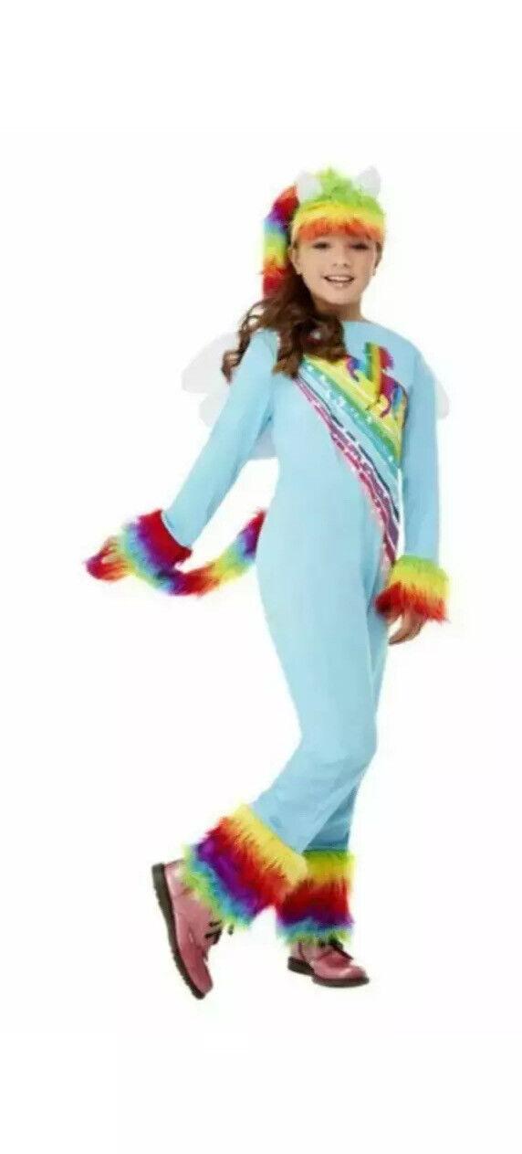 Girls Pony Costume + Wig Fairytale Rainbow Unicorn Kids Outfit age 7-9