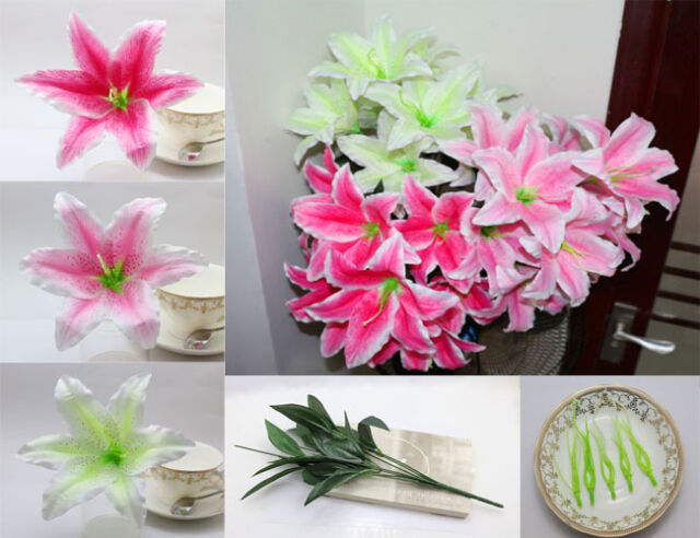 "10PCS 7.4"" Artificial Silk Lily Heads Fake Flower Head Wedding Lifelike Decor"