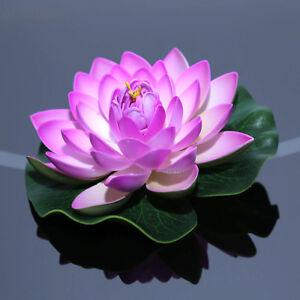 3 Pcs Lilac Artificial Fake Lotus Flower Lily Pad Floating Fish Pond