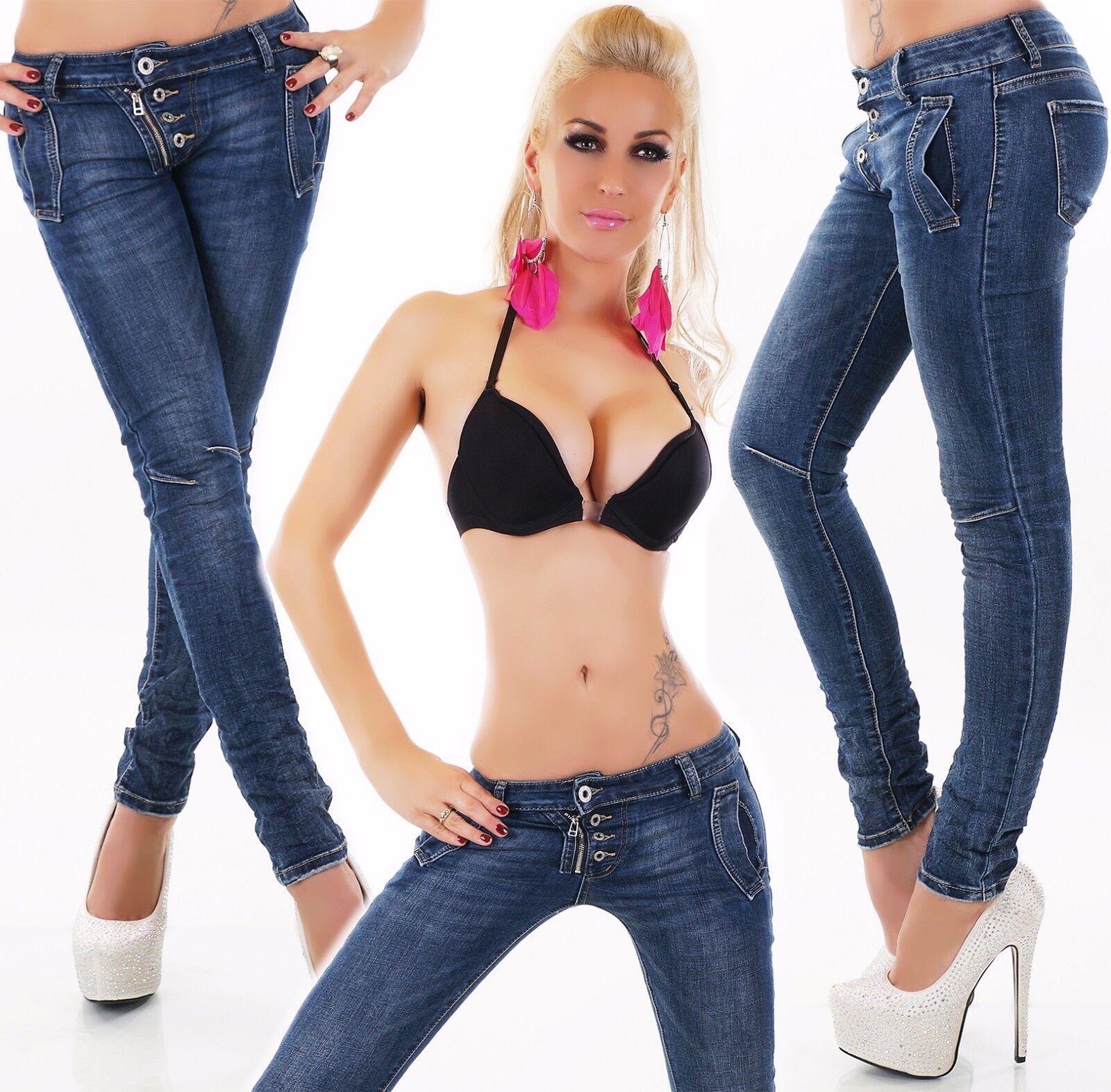 Donna Donna Donna Baggy Jeans Pantaloni Jeans Skinny Denim Impatto Look con Bottoni Zip c6074d