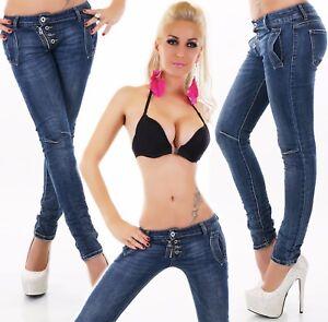 Mujer-Vaqueros-Baggy-Pantalones-Rohrenjeans-Denim-Crash-Look-Cierre-de-Botones