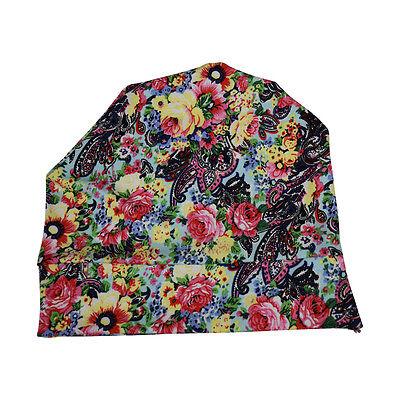 Women's Soft Beanie Sleep Cap Wig Line Cute Flower Garden Print Ladies Skullcap