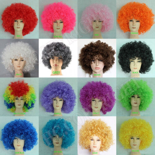 Women Mens Afro Curly Clown Costume Party Disco Wig Wigs Hair 16 Color Hot K397