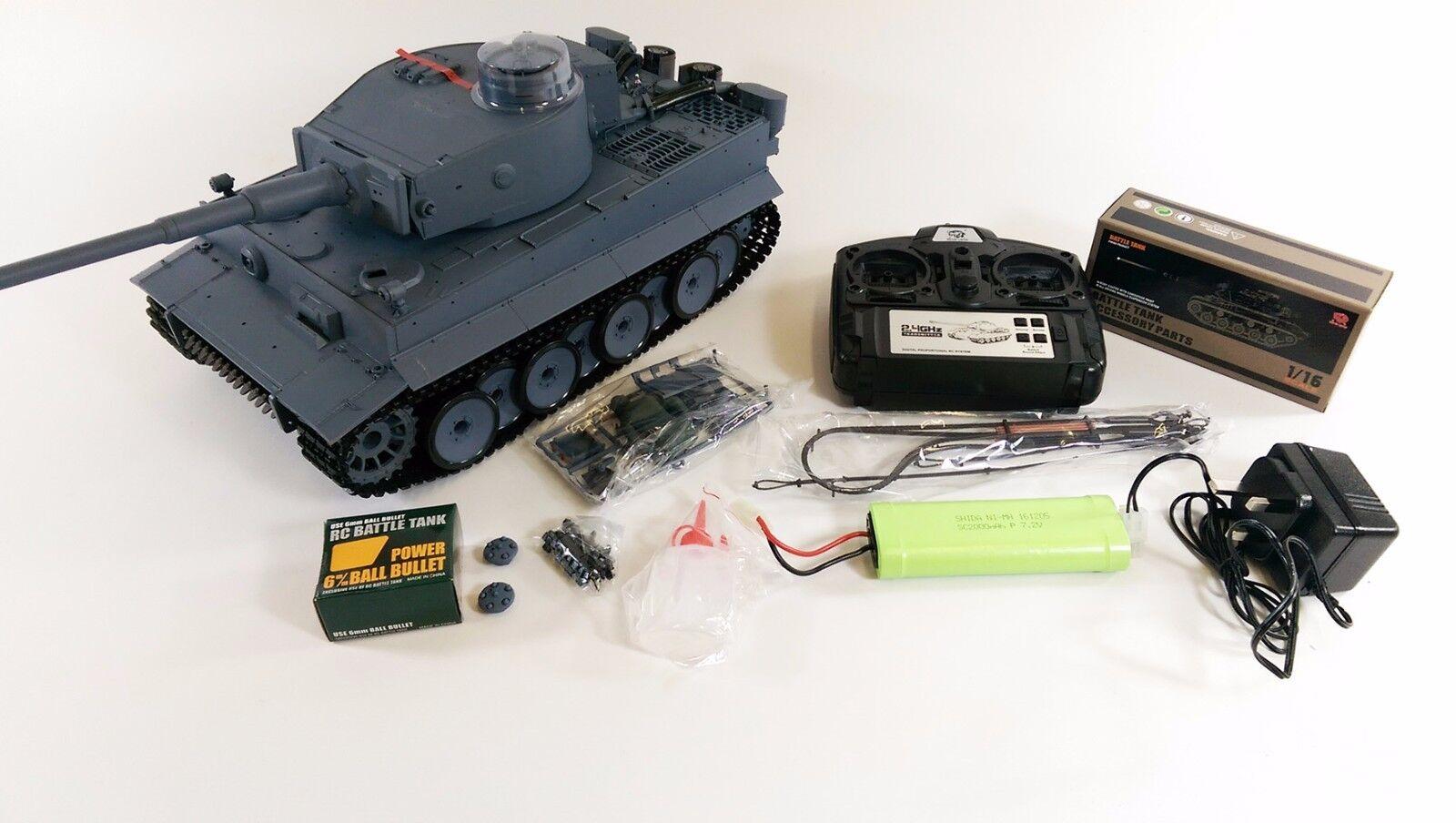 2.4ghz 1 16 Heng Long German Tiger Tank Smoking Sound Radio Control Army Tank