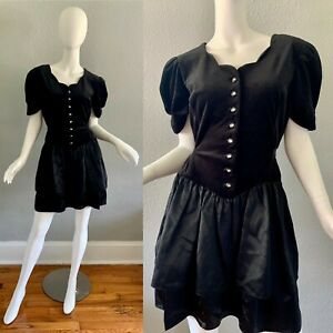 Vintage-80s-Black-Velvet-Scallop-Button-Ruffle-Puff-Party-Prom-Mini-Dress-XXL