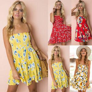 Womens Summer Off Shoulder Beach Wear Bikini Cover Up Boho Floral Midi Sun Dress