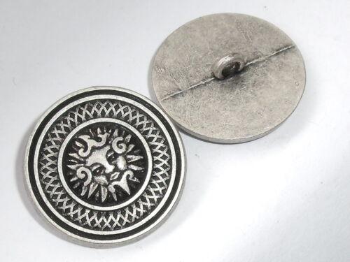 "6 Stück Metallknöpfe Knopf Knöpfe Ösenknopf /""Sonne/"" 28 mm altsilber NEU #882#"