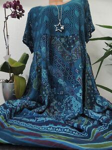 Damen Kleid Größe 46 48 50 52 54 Übergröße Kleider Maxikleid Blumen Spitze 72  eBay