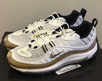 more photos 70f34 cef8d DS Nike Air Max 98 UK sz10.5 White/Gold GMT 1 90 95 97 gundam atmos AJ6302  100 | eBay