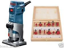 BOSCH Palm Router  **GMR 1 Professional** with 12 Pcs 6.35 mm Bit sets