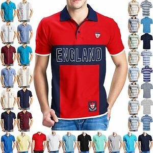NEW-MENS-POLO-T-SHIRTS-SHORT-SLEEVES-TOP-GOLF-TENNIS-TEES-PIQUE-COLLAR-SPORTS