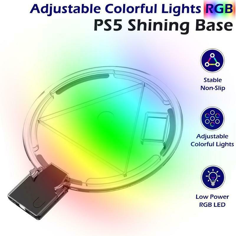 Adjustable RGB Console Stand,LED Atmosphere Light Base for PS5 Game Console