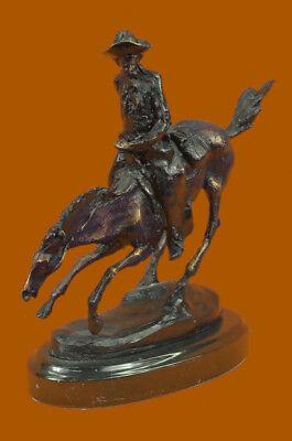 Clever Handgefertigt Frederic Remington Cowboy Auf Pferd Deko Western Bronze Skulptur Neueste Mode