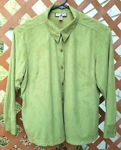 36cf7d0bc0b0a Caribbean Joe Woman Womens Plus Size 2X Green Long Sleeve Button ...