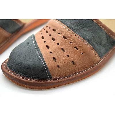 Zapatillas mulas para hombre de cuero marrón y gris Talla 6 7 8 9 10 11 12 Flip Flop Sandalias