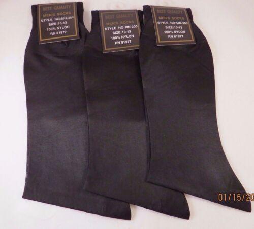 Mens SHEER Dress Socks 3PK 100/% Nylon mid Calf BLACK Size 10-13 thin