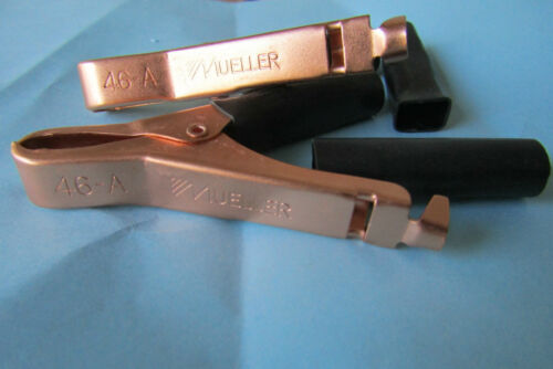 """8 COPPER PLATED STEEL BACK BATTERY CLIPS BU-46A-0,50A,3/""""BY MUELLER ELECTRIC.6.2."""