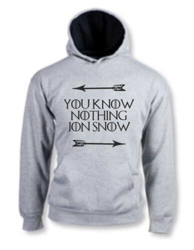 FELPA HOODIE YOU KNOW NOTHING JON SNOW GAME OF THRONES TRONO DI SPADE STARK