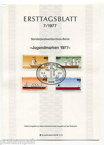 ALLEMAGNE-BERLIN-1977-BATEAUX-4-timbres-505-508-DOCUMENT-1-JOUR