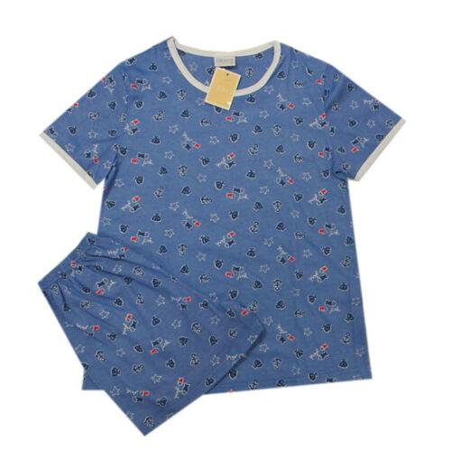 sublime Nachtwäsche Damen-Set Pyjama 2-teilig Rundhals Blau Baumwolle Gr.S M